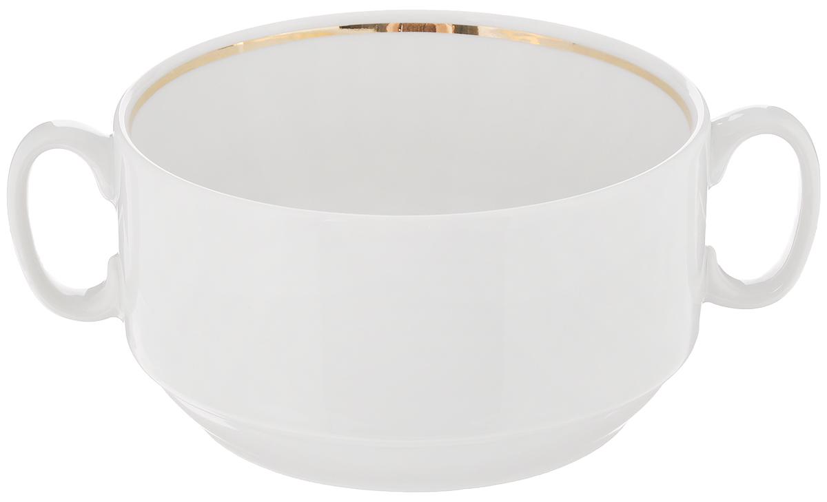 Чашка для бульона Белье, 470 мл. 12011361201136Чашка Белье, изготовленная из высококачественного фарфора, предназначена для подачи супов и бульонов. Изделие оснащено 2 ручками для более удобного использования. Оригинальная чашка для бульона Белье украсит сервировку вашего стола и подчеркнет прекрасный вкус хозяина, а также станет отличным подарком. Диаметр чашки (по верхнему краю): 11,7 см. Высота чашки: 6,5 см.