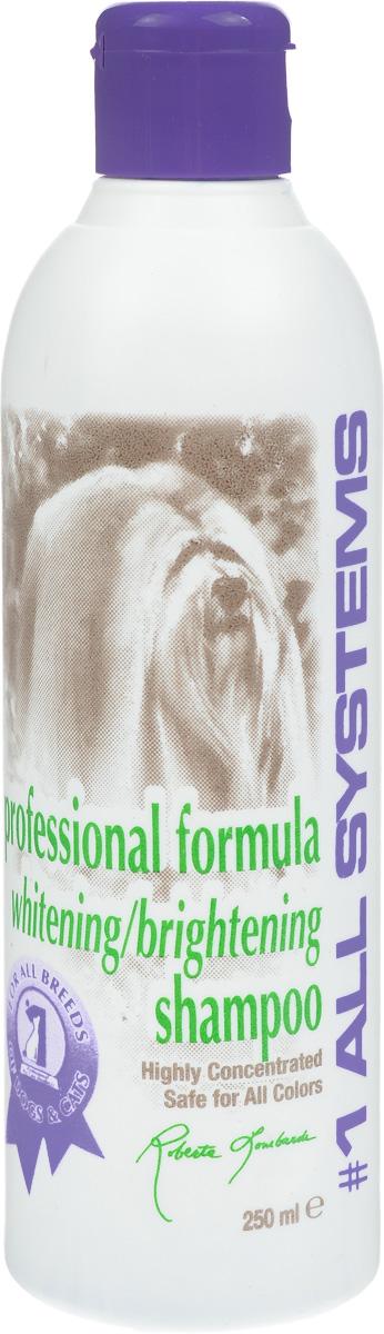 Шампунь для собак и кошек 1 All Systems Whitening, отбеливающий, для яркости окраса, 250 мл201Шампунь 1 All Systems Whitening - специально разработанный шампунь, содержащий кокосовое масло и обогащенный веществами, тщательно и безопасно очищающими шерсть, делающими ее ярче. Легко смывается, оставляя шерсть сияющей. Уникальная формула удаляет пятна, делает более яркими все окрасы. Особенно рекомендуется для белых, кремовых, серебристых и черных окрасов. Содержит только натуральные компоненты. Не содержит окислителей, подсинителей, спирта, масла или силиконовых продуктов. Способ применения. Разведите шампунь в 5-10 частях воды. Тщательно увлажните шерсть и добавьте достаточное количество шампуня для удаления лишнего жира и грязи. Без разведения можно применять на застаревших пятнах (лапы, морда). Избегайте попадания в глаза. Рекомендации для кошек: подходит для силвер- табби, белый, черный, шиншилла, серебристый. Состав: дистиллированная вода, лаурил сульфат натрия, лаурат сульфат натрия, динатрия ...