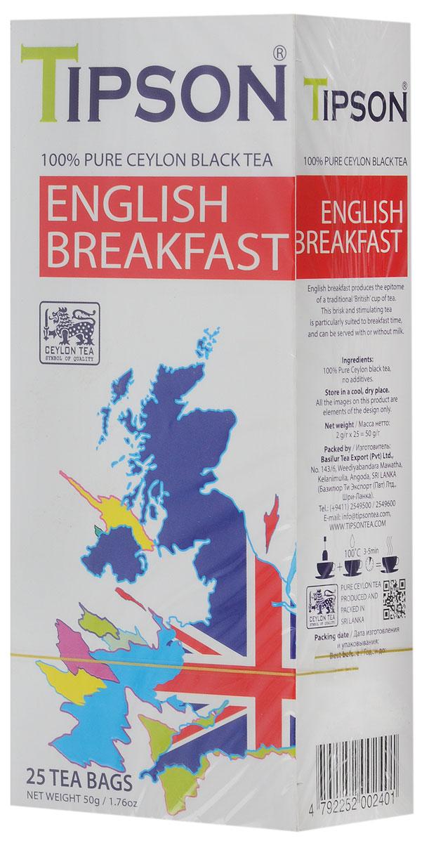 Tipson English Breakfast черный чай в пакетиках, 25 шт