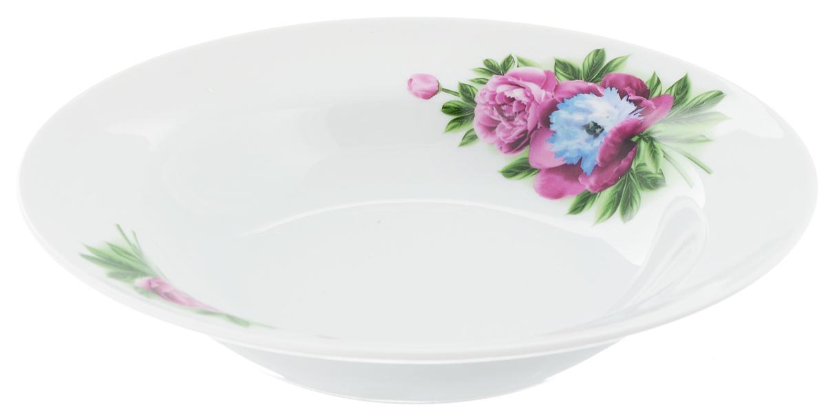 Тарелка глубокая Идиллия. Пион, диаметр 24 см1303878Глубокая тарелка Идиллия. Пион выполнена из высококачественного фарфора и украшена ярким рисунком. Она прекрасно впишется в интерьер вашей кухни и станет достойным дополнением к кухонному инвентарю. Тарелка Идиллия. Пион подчеркнет прекрасный вкус хозяйки и станет отличным подарком.