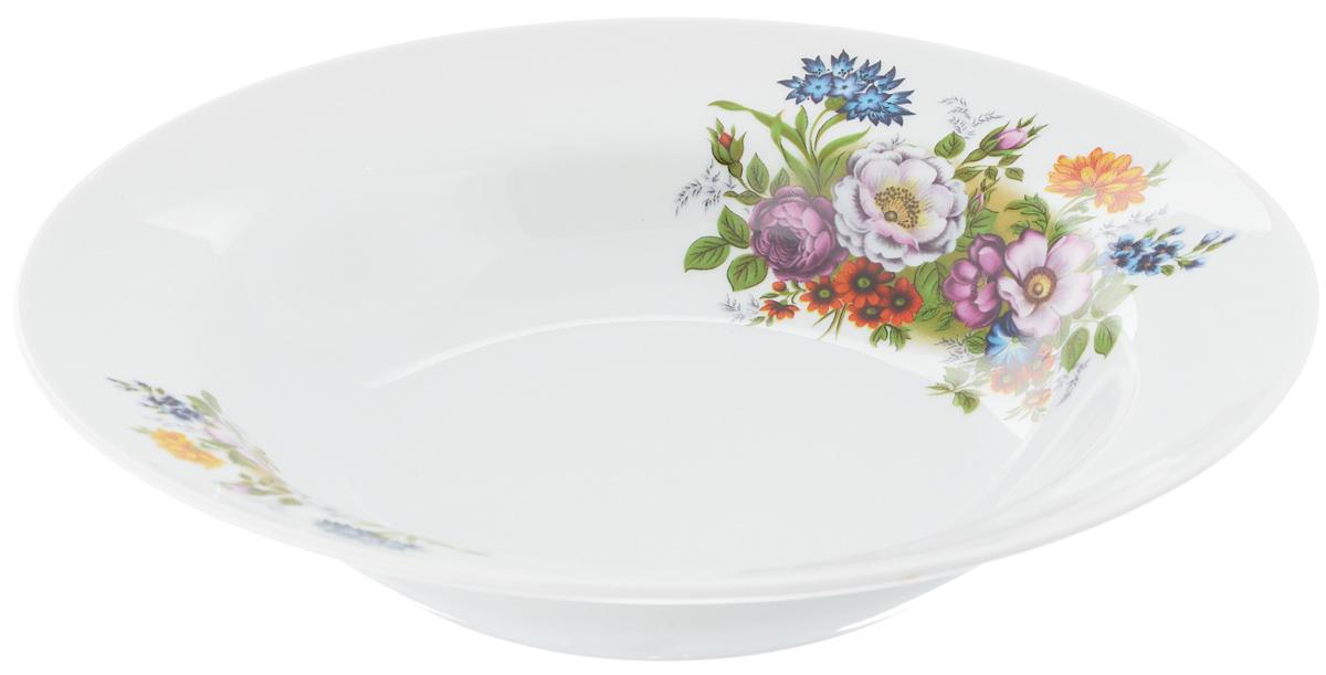 Тарелка глубокая Идиллия. Букет цветов, диаметр 24 см1303879Глубокая тарелка Идиллия. Букет цветов выполнена из высококачественного фарфора и украшена ярким рисунком. Она прекрасно впишется в интерьер вашей кухни и станет достойным дополнением к кухонному инвентарю. Тарелка Идиллия. Букет цветов подчеркнет прекрасный вкус хозяйки и станет отличным подарком.