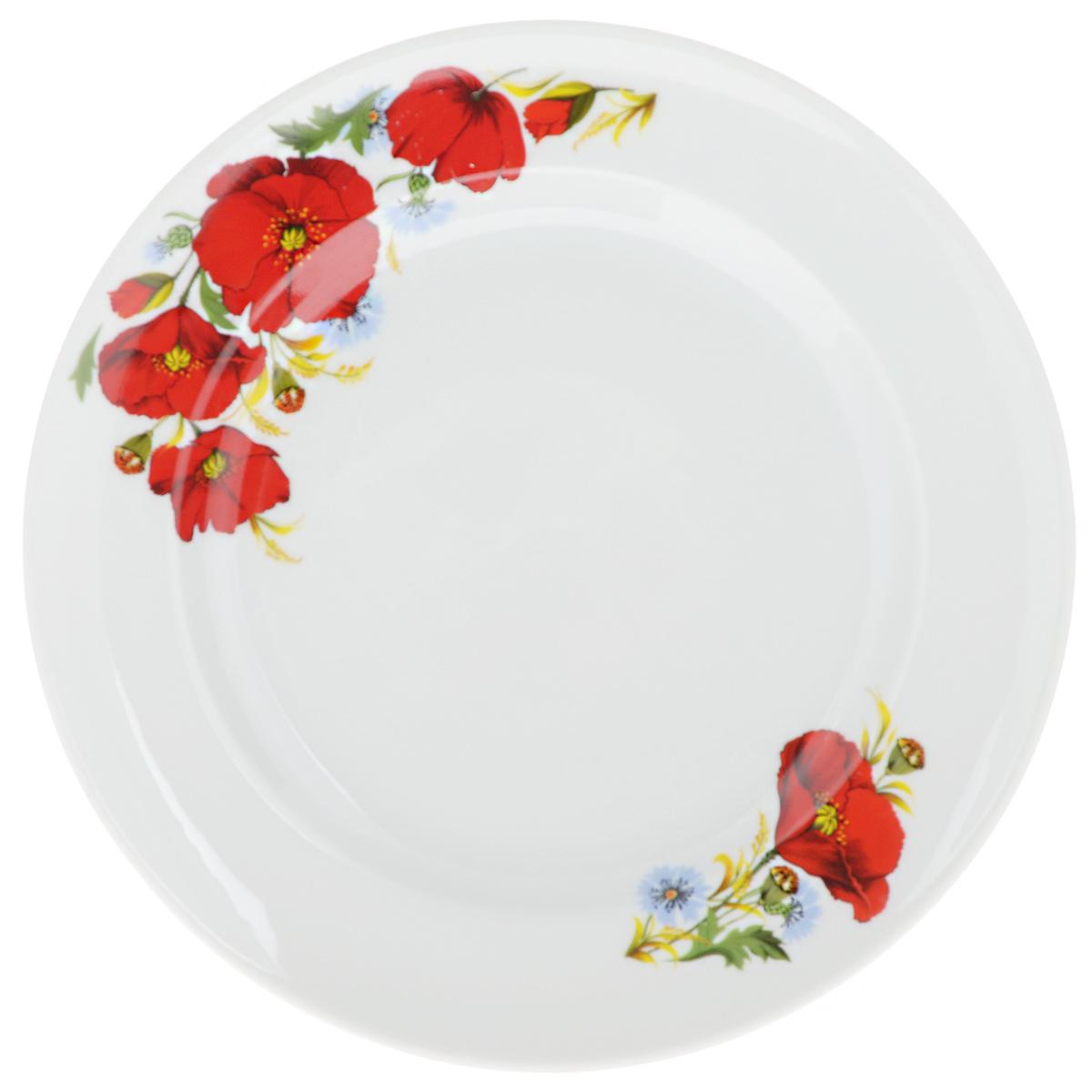 Тарелка мелкая Идиллия. Маки красные, диаметр 24 см1332995