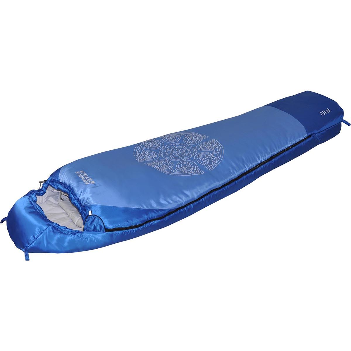 Мешок спальный NOVA TOUR Алтай -10 V2, цвет: синий, белый, правосторонняя молния95423-407-RightСпальный мешок NOVA TOUR Алтай -10 V2 имеет конструкцию кокон с синтетическим наполнителем. Оснащен утепленным утягивающимся капюшоном и шейным воротником, двухзамковой молнией, позволяющей состегнуть два спальника левого и правого исполнения в один двойной. Мешок выполнен из высококачественного полиэстера. Наполнен спальник двухслойным холлофайбером - уникальным, особо теплым, гипоаллергенным утеплителем, каждое волокно которого тоньше волоса и имеет внутри себя еще 7 воздушных каналов. Компрессионный чехол в комплекте. Длина спальника: 220 см.