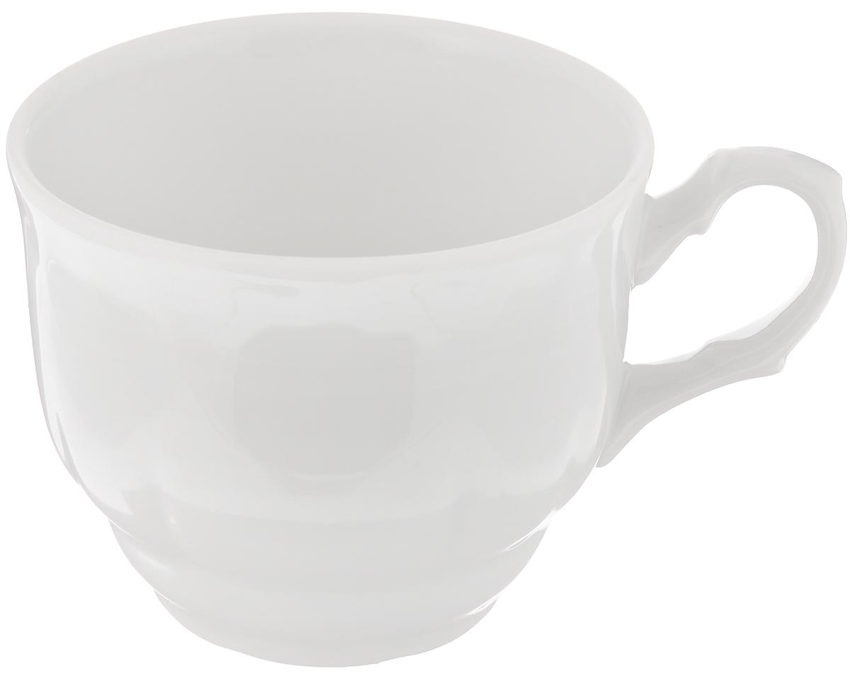 Чашка Тюльпан, 250 мл507781Чашка Тюльпан выполнена из высококачественного фарфора. Изделие покрыто превосходной сверкающей глазурью. Завитки на ручке чашки подчеркивают романтичность изделия. Нежнейший дизайн и белоснежность изделия дарят ощущение легкости и безмятежности. Изысканная чашка прекрасно оформит стол к чаепитию и станет его неизменным атрибутом. Диаметр чашки (по верхнему краю): 8,5 см. Высота стенок: 7 см.