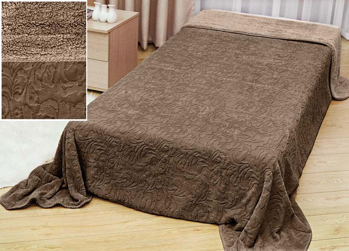 Плед Аbsolute Lux, тесненый на меху, цвет: коричневый, 180 х 230 см. 5179451794плотность 410 гр/м2