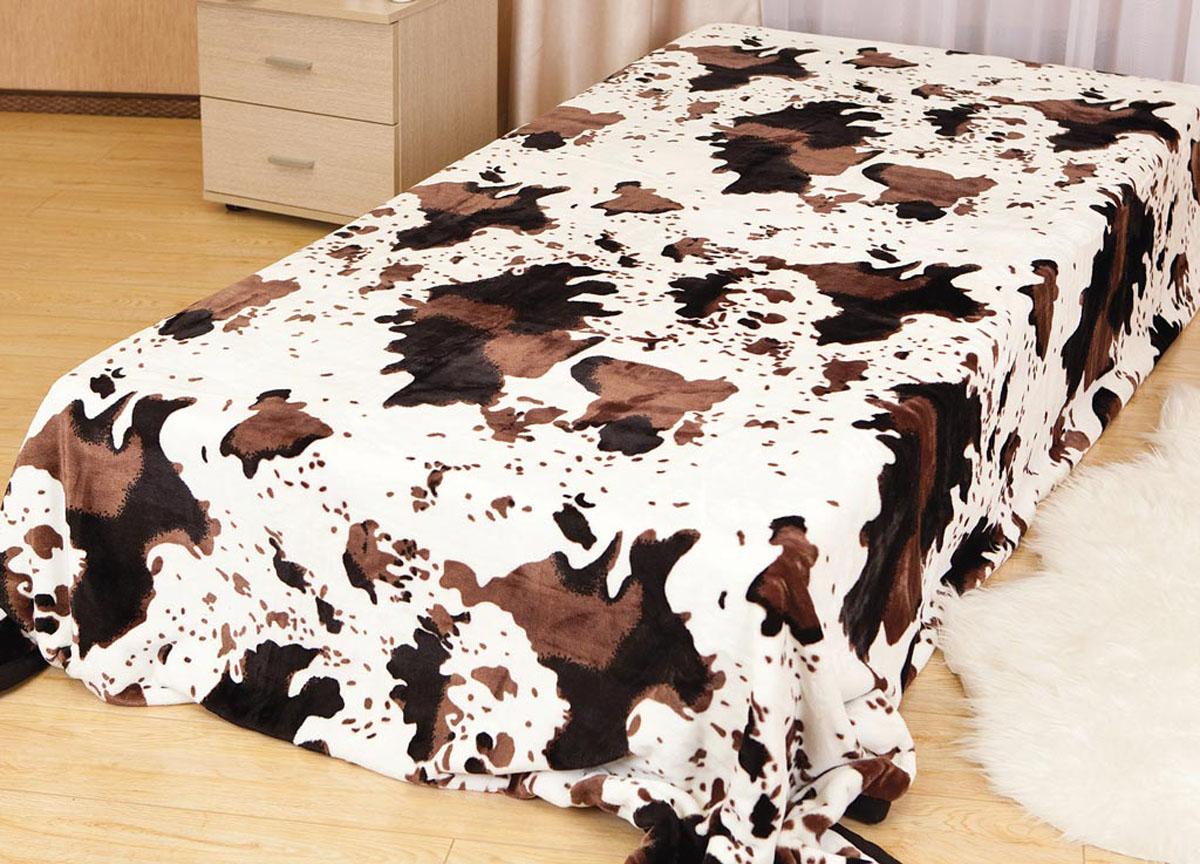 Плед Absolute, цвет: белый, коричневый, 180 х 230 см. 6057360573плотность 340 гр/м2