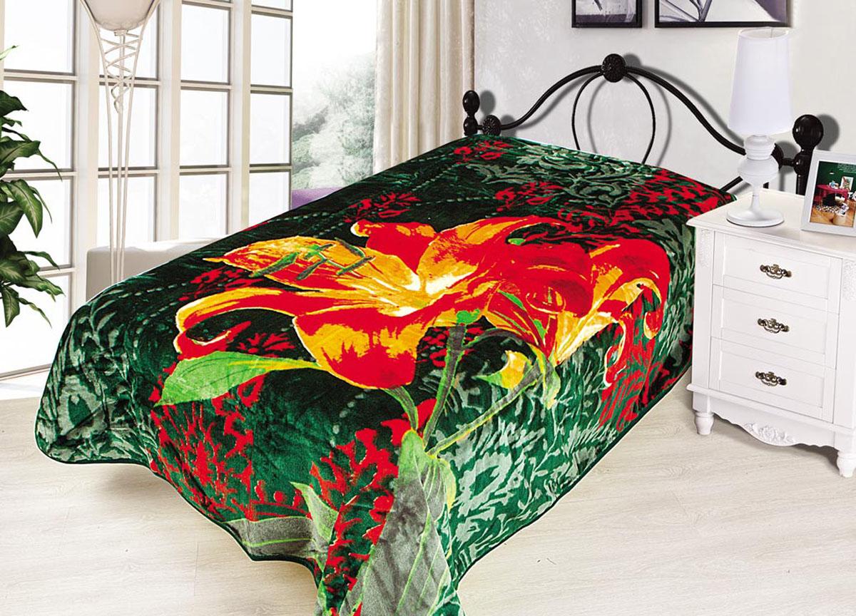 Плед Tamerlan, нестриженый, цвет: зеленый, красный, 200 х 240 см. 7037570375плотность 500 гр/м2