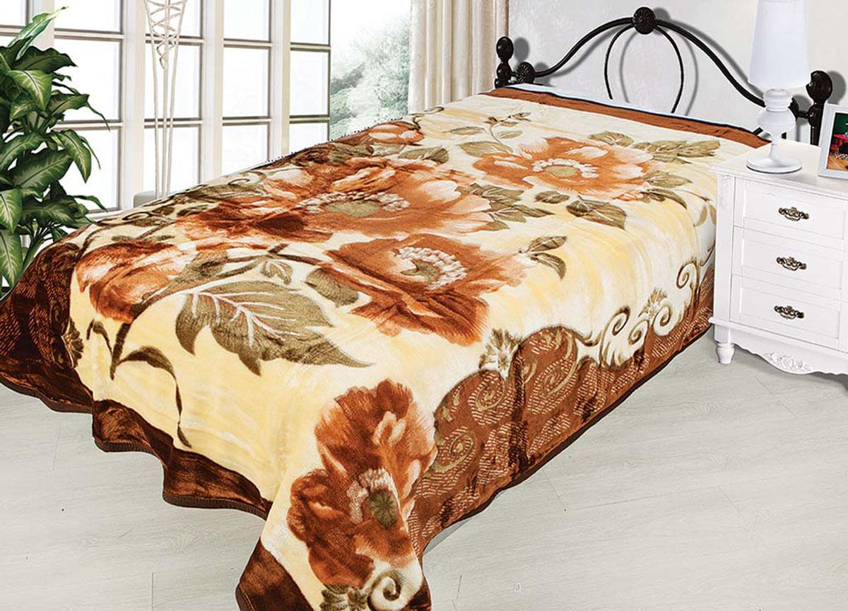 Плед Tamerlan, нестриженый, цвет: бежевый, коричневый, 150 х 200 см. 7449774497плотность 430 гр/м2