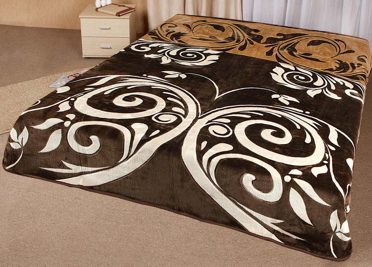 Плед Tamerlan, нестриженый, цвет: коричневый, бежевый, 150 х 200 см. 7454374543плотность 400 гр/м2