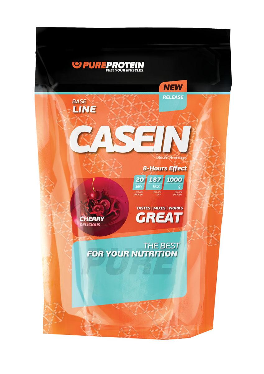 Протеин PureProtein Base Line, вишневое наслаждение, 1000 г3610192В Casein Protein (Натуральный вкус), выпускаемый компанией Pureprotein, в качестве источника протеинов используется 90% казеин, а также клетчатка и зародыши пшеницы. Суммарное количество белка в 1 порции продукта составляет 76,5 г, что соответствует 45,8% рекомендуемой для спортсменов суточной нормы потребления. В чем преимущества использования чистого казеина? Во-первых, благодаря длительному и равномерному всасыванию (до 5-8 часов) - возможность обеспечить организм практически полным набором заменимых и незаменимых аминокислот и предотвратить разрушение мышц (катаболизм) в тот период, когда появляются «пробелы» в поступлении питательных веществ. Например – ночью, в послетренировочном периоде или в период сушки. Во-вторых, он обладает отличной способностью устранять чувство голода благодаря своим свойствам разбухать в желудке и вызывать чувство сытости. В-третьих, по общей эффективности казеин превышает все растительные белки. Ингредиенты: мицеллярный казеин, клетчатка...