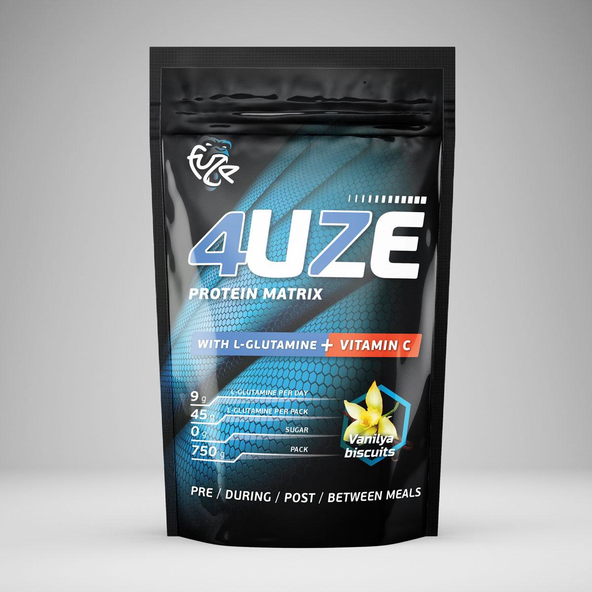 Протеин PureProtein Fuze + Glutamine, ванильное печенье, 750 г3610299Для тех, кто особенно следит за своей иммунной системой разработан 4uze Glutamine + Vitamin C. Кроме полезного при профилактике заболеваний витамина С, в составе этого продукта есть также аминокислота глутамин, которая отлично поддерживает иммунную систему. А прием глутамина совместно с протеином поможет в лучшей адаптации к тренировочным нагрузкам. Ингредиенты: концентрат сывороточного белка - 37,6%, концентрат молочного белка - 18,9%, сухой яичный белок - 18,9%, изолят соевого белка - 19,1 %, пшеничный белок - 5,5%, фруктоза, декстроза, соевый лецитин, мальтодекстрин, витамин С, глутамин, ароматизатор, аспасвит (не содержит финилалалин), ксантановая камедь, пищевой краситель Кармин (только для вкуса Вишневый пирог). Состав может меняться в зависимости от вкусов, но новые компоненты (из основных) не добавляются. Товар сертифицирован.