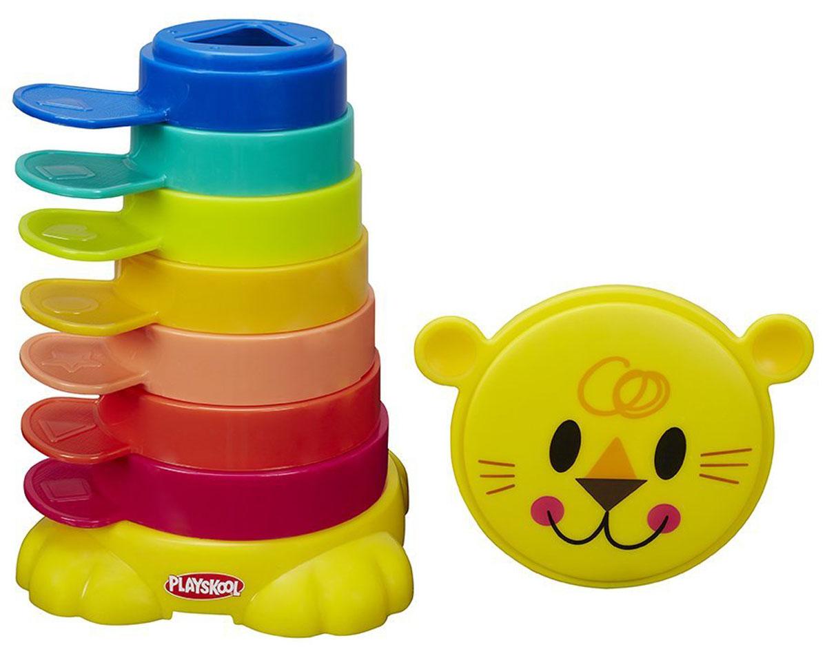 Playskool Развивающая игрушка Пирамидка-львенок Возьми с собойB0501EU4Развивающая игрушка Playskool Пирамидка-львенок. Возьми с собой - яркая, многоцветная и многофункциональная развивающая игрушка, которая подойдет для игры с малышом практически в любом месте. Малыш может складывать чашки одну на другую или укладывать их внутрь друг друга по принципу матрешки, развивая навыки мелкой моторики. В центре каждой чашечки имеется выемка геометрической формы, чтобы малышу было удобнее брать их ручками, а также ручки снаружи чашечек, чтобы также удобно было брать пальчиками. В комплекте: подставка и крышка в виде львенка, чтобы вы могли легко, компактно собрать и удобно хранить внутри все 7 чашечек. Компактный размер пирамидки позволяет ей с легкостью помещаться в дорожную сумку. Собирая пирамидку, ребенок развивает логическое мышление и изучает цвета.