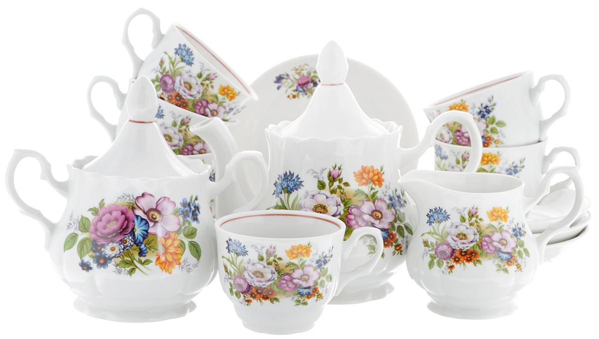 Сервиз чайный Романс. Букет цветов, 15 предметов2С0291Чайный сервиз Романс. Букет цветов состоит из 6 чашек, 6 блюдец, молочника, сахарницы и заварочного чайника. Изделия выполнены из высококачественного фарфора и оформлены цветочным рисунком. Изящный чайный сервиз прекрасно оформит стол к чаепитию и порадует вас элегантным дизайном и качеством исполнения. Объем чайника: 800 мл. Высота чайника (без учета крышки): 12,7 см. Диаметр чайника (по верхнему краю): 9,5 см. Высота сахарницы (без учета крышки): 11 см. Диаметр сахарницы (по верхнему краю): 9,5 см. Объем сахарницы: 600 мл. Объем сливочника: 350 мл. Высота сливочника: 10 см. Размер сливочника (по верхнему краю): 8,5 х 7 см. Объем чашки: 250 мл. Диаметр чашки (по верхнему краю): 9 см. Высота чашки: 7 см. Диаметр блюдца: 15 см. Высота блюдца: 3 см.
