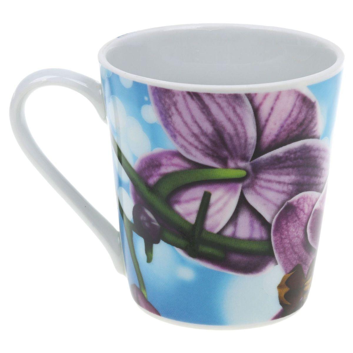 Кружка Классик. Орхидея, цвет: голубой, 300 мл3С0493Кружка Классик. Орхидея изготовлена из высококачественного фарфора. Внешние стенки изделия оформлены красочным рисунком. Такая кружка прекрасно подойдет для горячих и холодных напитков. Она дополнит коллекцию вашей кухонной посуды и будет служить долгие годы.