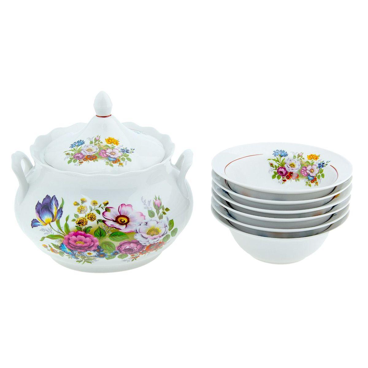 Набор для пельменей Романс. Букет цветов, 7 предметов507872ваза для супа 3 л, 1 шт.; миска d=17,5 см, 6 шт.