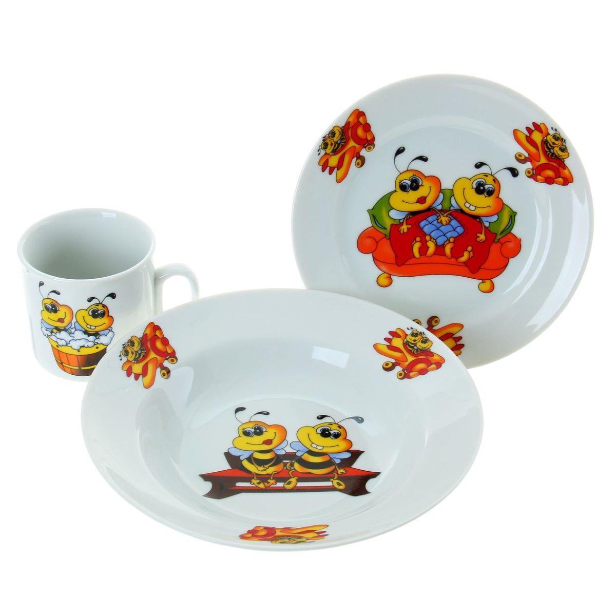 Набор посуды Идиллия. Пчелы, 3 предмета. 653653кружка 200 мл, 1 шт.; десертная тарелка 170 мм, 1 шт.; салатник 360 мл, 1 шт.