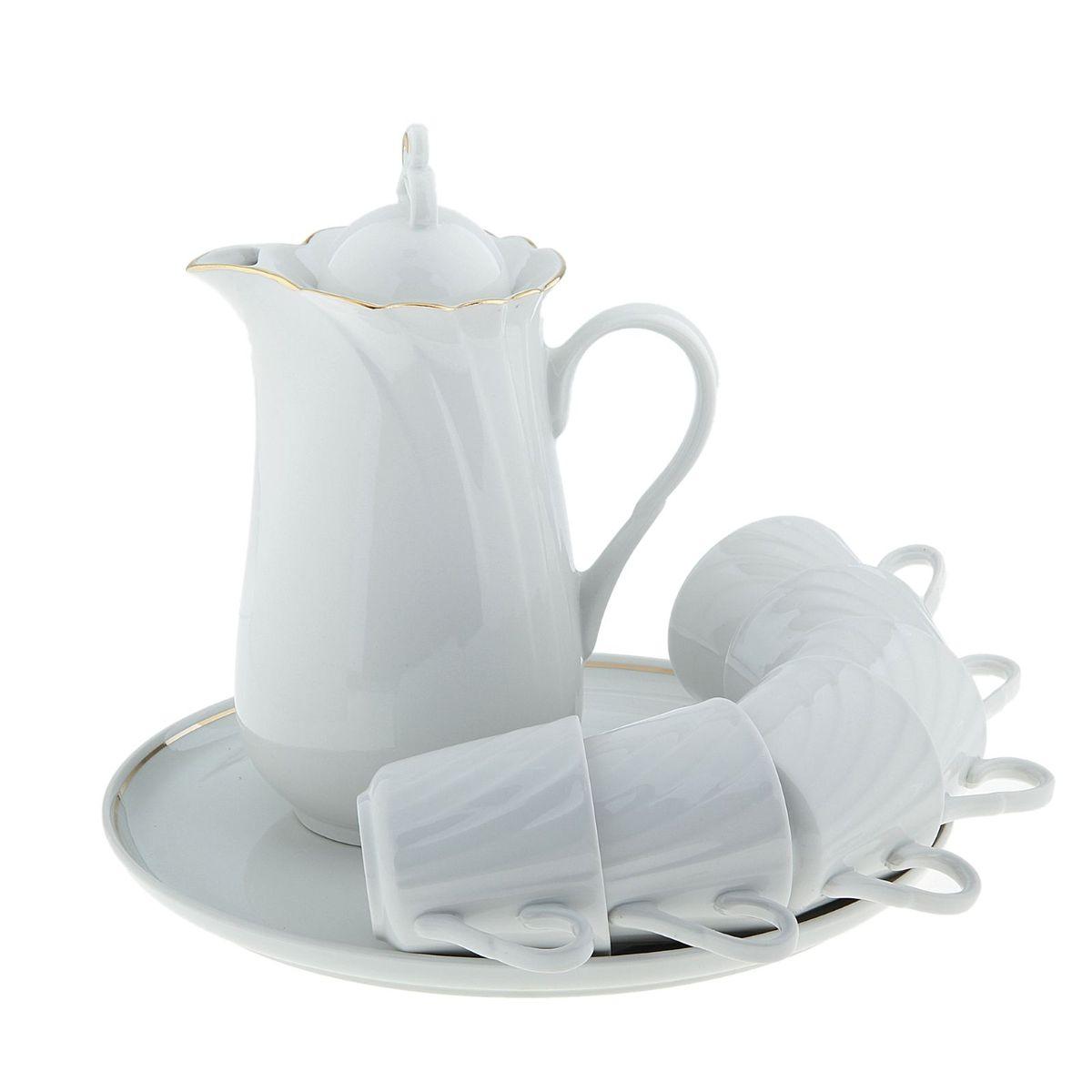 Набор питьевой Голубка, 8 предметов507877кувшин 1300 мл, 1 шт.; чайная чашка 220 мл, 6 шт.; блюдо для закусок 300 мм, 1 шт.