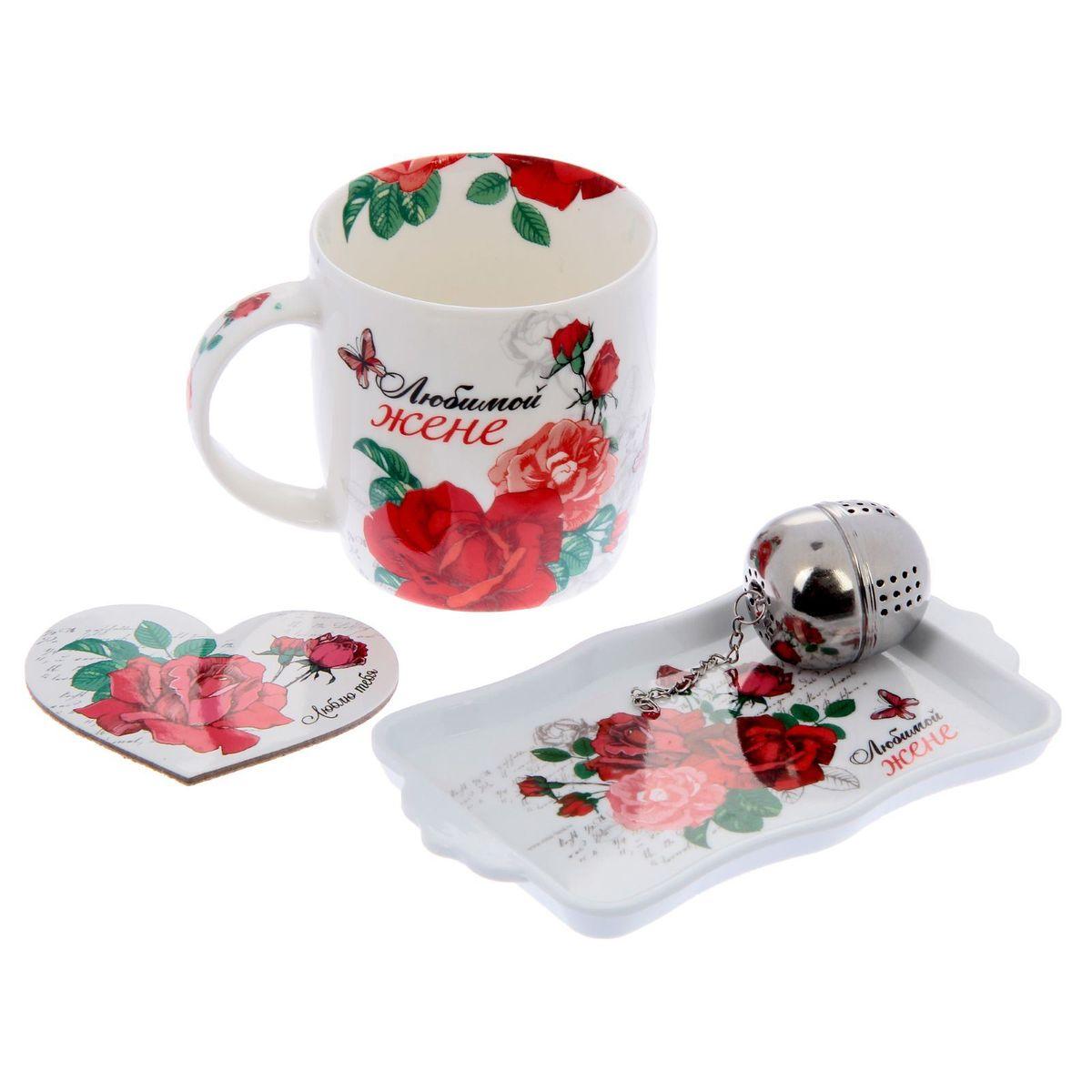 Набор подарочный Любимой жене, 4 предмета1176421Набор состоит из кружки (350 мл), подставки, подноса и ситечка для заварки.