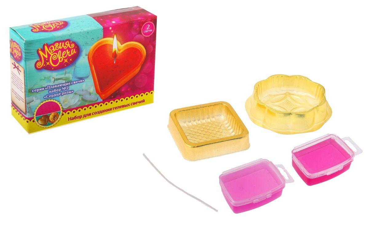 Набор для изготовления гелевых свечей Плавающие свечи. Сердце розы. 633518633518