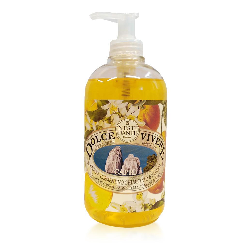 Nesti Dante Жидкое мыло Capri -Капри 500 мл5048106Жидкое мыло и гели Nesti Dante производится исключительно из растительных масел и содержит 100% оливковое масло. Содержащееся в продуктах оливковое масло известно как «эликсир молодости» благодаря высокой концентрацией витамина Е, который помогает бороться с образованием свободных радикалов, повинных в старении кожи