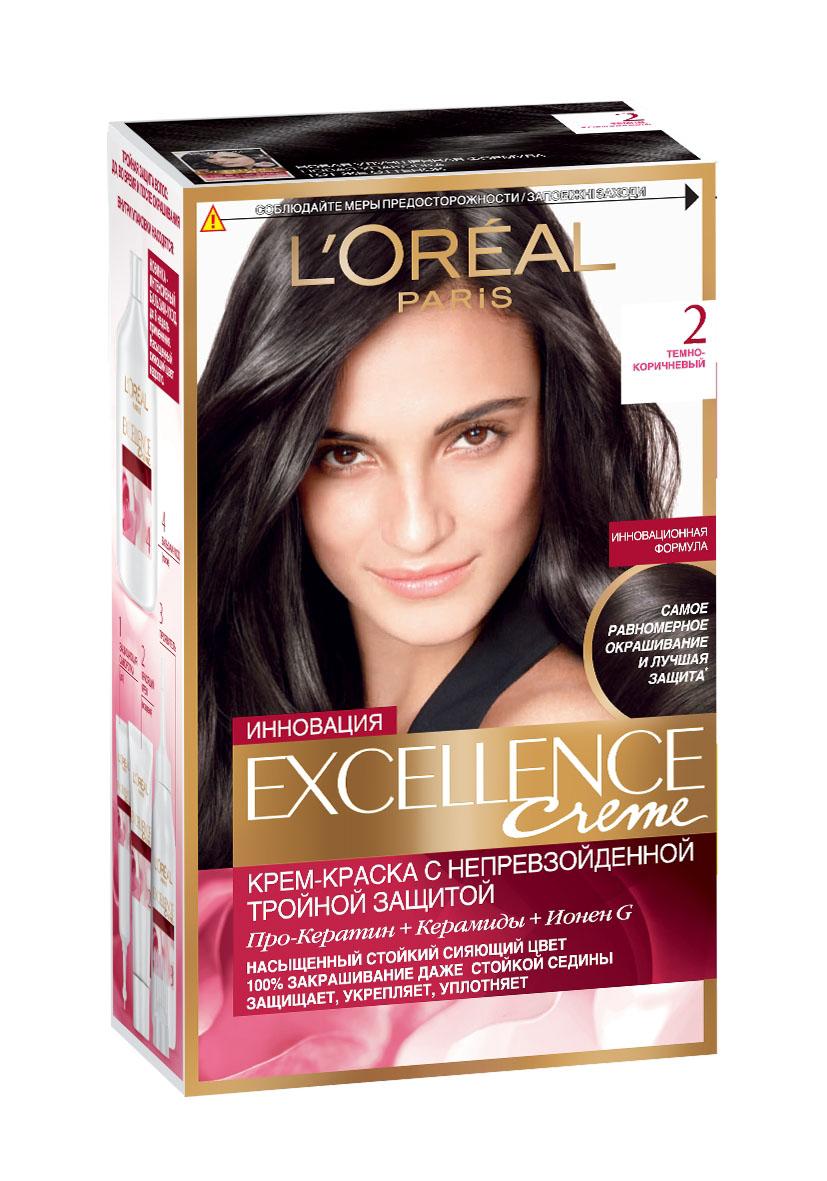 LOreal Paris Краска для волос Excellence, оттенок 2, Темно-коричневый, 270 млA7359328Крем-краска Excellence защищает волосы ДО, ВО ВРЕМЯ и ПОСЛЕ окрашивания. Активная формула с Про-Кератином, Керамидами и активным компонентом Ионен G обеспечивает стойкий равномерный цвет и 100% закрашивание седины. Защитная сыворотка лечит поврежденные участки волос. Густой красящий крем обволакивает каждый волос и насыщает его цветом. Бальзам-уход восстанавливает, укрепляет и уплотняет волосы.