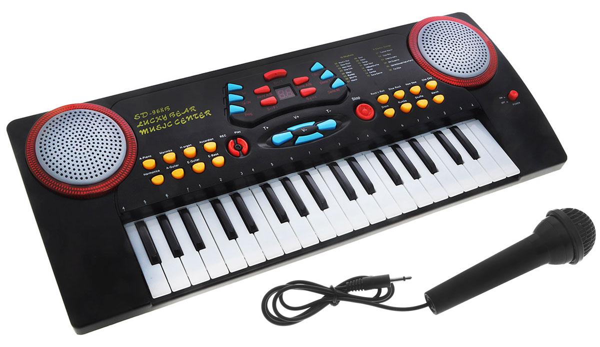 ABtoys Синтезатор DoReMi 37 клавиш с микрофоном цвет серебристый