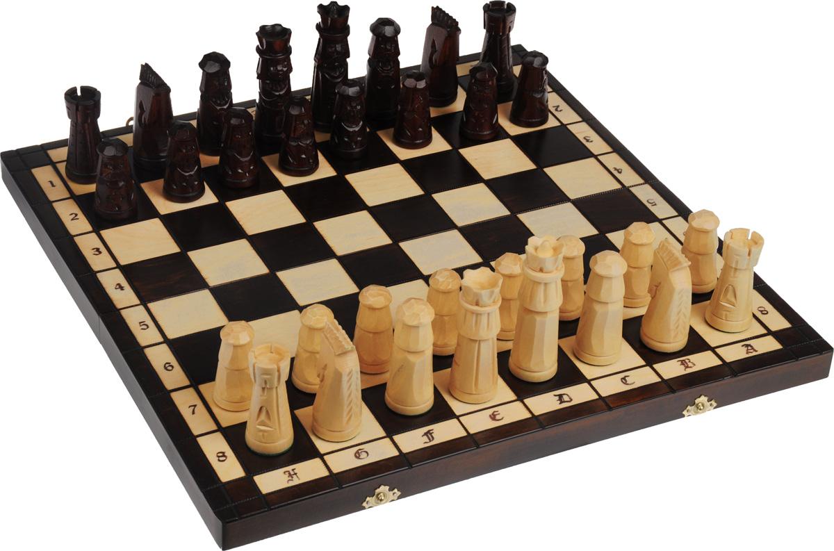 Шахматы Madon Сказка, размер: 50x25x6 см. 124124Шахматы Madon Сказка - настольная логическая игра, которая соединяет в себе элементы и искусства, и науки, и спорта. Изделие представляет собой шахматные фигуры и деревянный кейс с игровым полем. Кейс оформлен изящной резьбой и закрывается на два металлических замка. Внешняя поверхность - игровое поле. Внутренняя поверхность оформлена бархатистым текстилем. Размер игрового поля (в разложенном виде): 49 х 49 см. Высота шахматных фигур: 6,5 - 11,5 см.