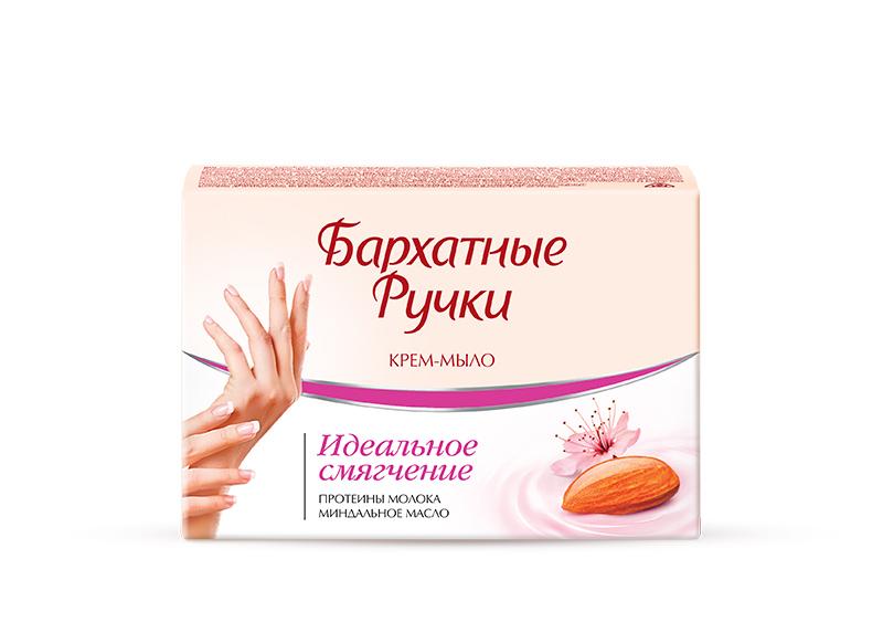 Бархатные Ручки Крем-мыло Идеальное смягчение 75 гр1107114321Нежнейшее крем-мыло для рук, благодаря содержанию крема со смягчающими компонентами, не только бережно очищает кожу рук, но и оказывает ухаживающее действие. Специальный состав крем-мыла: - миндальное масло оказывает смягчающее, питательное и защитное действие на кожу рук - протеины молока эффективно увлажняют кожу рук