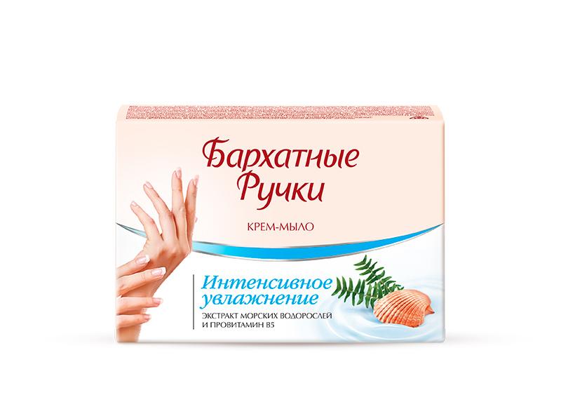 Бархатные Ручки Крем-мыло Интенсивное увлажнение 75 гр1107114021Нежнейшее крем-мыло, благодаря содержанию крема со смягчающими компонентами, не только бережно очищает кожу рук от загрязнений, но и оказывает успокаивающее действие. Специальный состав крем-мыла: - экстракт морских водорослей восполняет дефицит витаминов и микроэлементов в клетках кожи - провитамин B5 важен в процессе регенерации кожи, его часто называют витамином красоты Крем-мыло эффективно смягчает и увлажняет кожу рук.