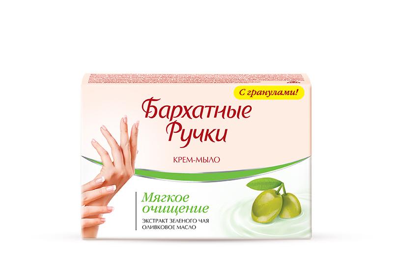 Бархатные Ручки Крем-мыло Мягкое очищение 75 гр1107114621Крем-мыло для рук содержит отшелушивающие гранулы, которые обеспечивают бережное очищение с массажным эффектом. Крем-мыло бережно ухаживает за кожей рук благодаря содержанию крема со смягчающими компонентами. Специальный состав крем-мыла: - оливковое масло прекрасно питает и смягчает кожу - экстракт зеленого чая оказывает тонизирующее и противомикробное действие