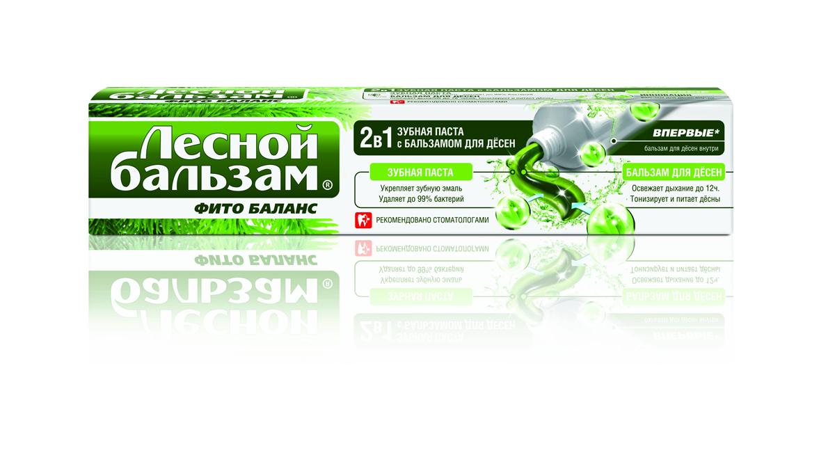 Лесной Бальзам Зубная паста 2в1 Фито-баланс с бальзамом для десен 75 мл1104735772Зубная паста «Лесной бальзам» С бальзамом для дёсен 2 в 1 создана по уникальной для рынка технологии. Сочетание зубной пасты и бальзама для дёсен обеспечивает комплексный уход за всей полостью рта. Зубная паста: - Удаляет до 99% бактерий провоцирующих проблемы полости рта - Укрепляет зубную эмаль - Защищает от кариеса Бальзам для дёсен: - Освежает дыхание до 12 часов - Способствует профилактике воспаления и кровоточивости дёсен - Тонизирует и питает ткани дёсен Экстракт пихты входящий в состав бальзама для дёсен, оказывает антимикробное и тонизирующее действие, повышает защитную функцию слизистых оболочек полости рта.