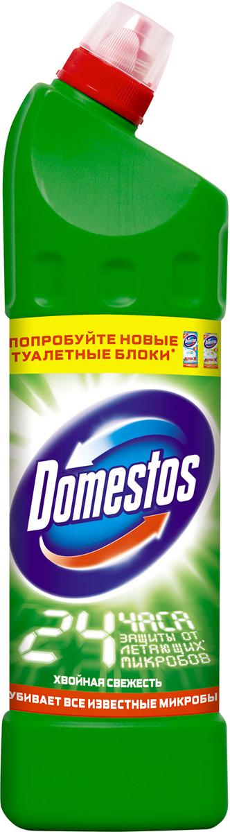 Domestos Двойная сила Чистящее средство универсальное Хвойная свежесть 1 л21012648/8828452Универсальное чистящее средство Domestos Двойная сила. Хвойная свежесть подходит для уборки раковин и ванн, кафеля, пола, унитаза, сливов и водостоков на кухне и в ванной. Чистит до блеска, дезинфицирует и отбеливает. Domestos не только очищает поверхности, но и помогает бороться со всеми известными микробами - в том числе, вызывающими опасные заболевания, обеспечивая свежий аромат. Густой, многофункциональный, экономичный и невероятно эффективный. Среди средств для туалетов Domestos - бесспорный лидер, благодаря густой формуле и удобной форме бутылки. Нельзя забывать, что гигиена важна не только в туалете, но и в ванной. Влага и тепло - идеальные условия для размножения бактерий, грибка, плесени. Регулярное использование небольшого количества Domestos на мокрой тряпке или губке в ванной убирает мыльной осадок, темные пятна, дезинфицирует поверхности. Domestos безопасен. При надлежащем использовании Domestos абсолютно безвреден как для людей, так и для окружающей...
