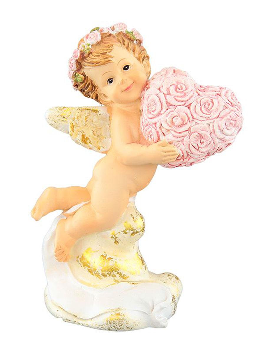 Фигурка декоративная Elan Gallery Ангелочек с сердечком, высота 10 см670096Декоративная фигурка с изображением ангелочка станет прекрасным сувениром, который вызовет улыбку и поднимет настроение. Фигурка выполнена из полистоуна.