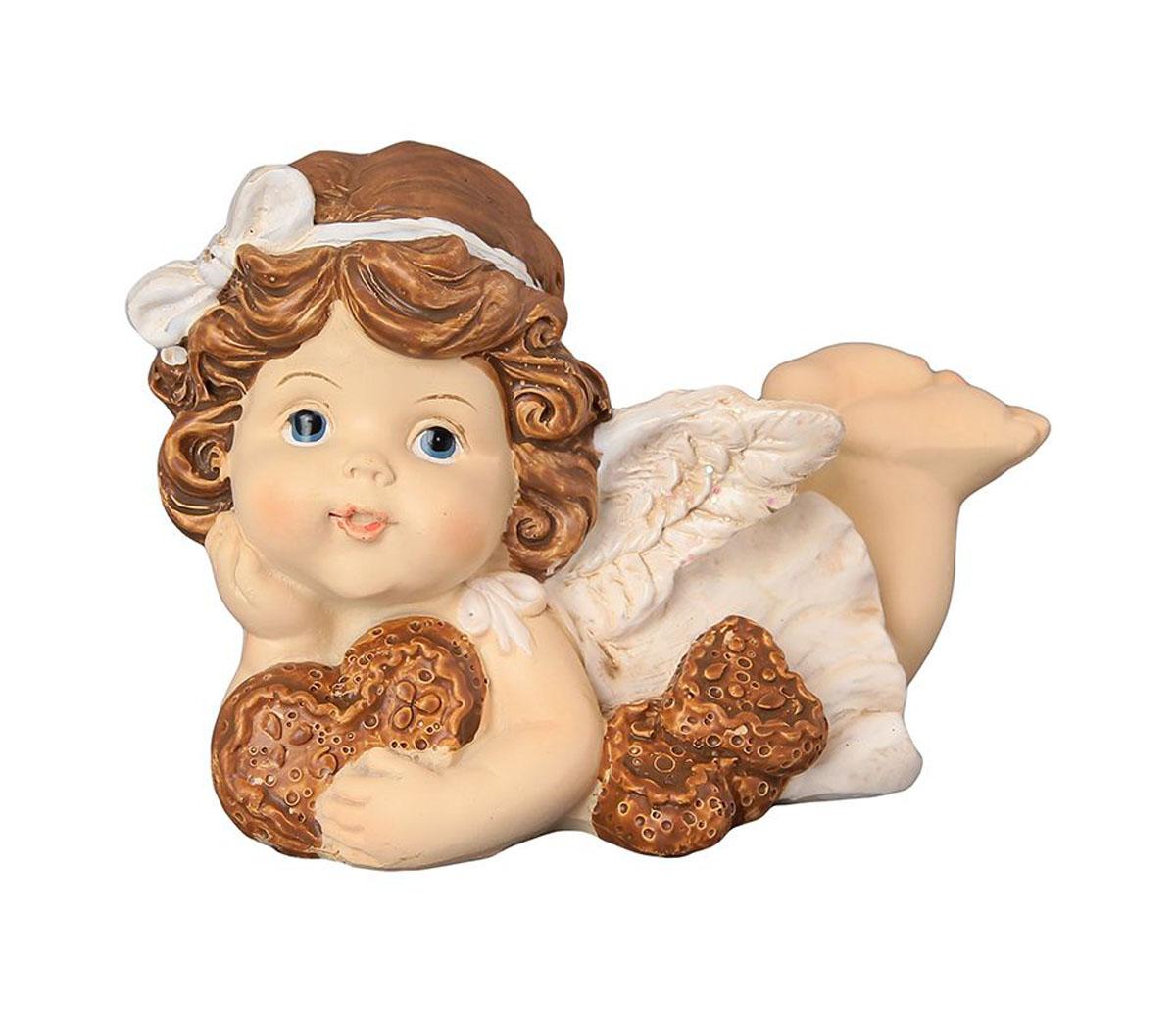 Фигурка декоративная Elan Gallery Ангелочек с пряниками, высота 8 см670141Декоративная фигурка с изображением ангелочка станет прекрасным сувениром, который вызовет улыбку и поднимет настроение. Фигурка выполнена из полистоуна.