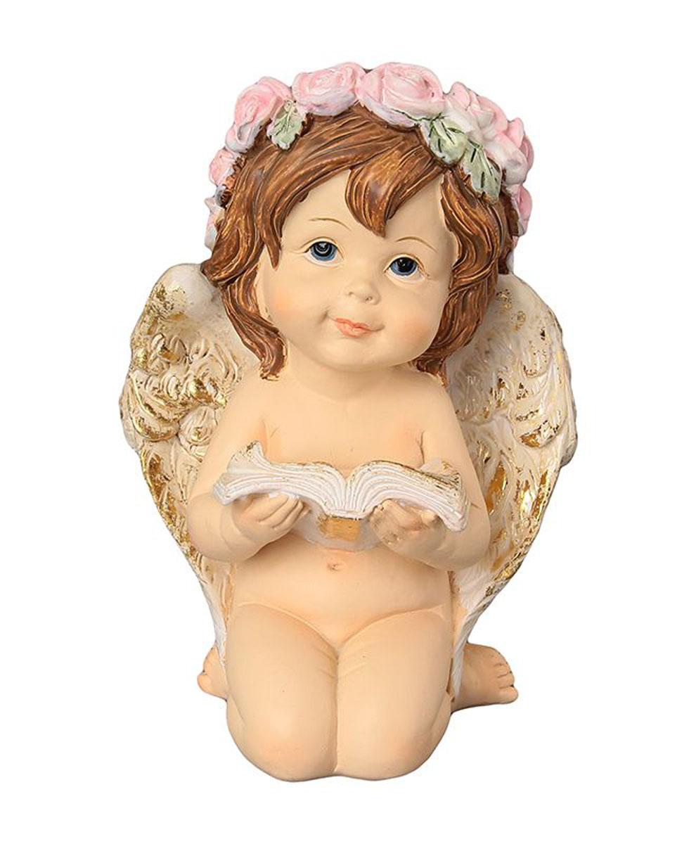 Фигурка декоративная Elan Gallery Ангелочек в венке с книгой, высота 14 см670150Декоративная фигурка с изображением ангелочка станет прекрасным сувениром, который вызовет улыбку и поднимет настроение. Фигурка выполнена из полистоуна.