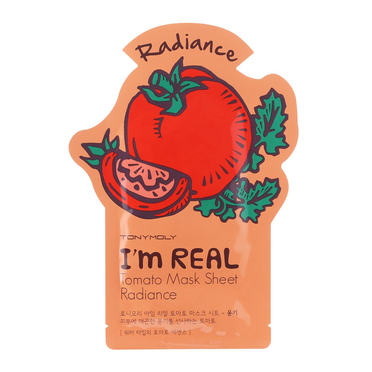 TonyMolyТканевая маска с экстрактом томата Im Real Tomato Mask Sheet, 21млSS05015400Тканевая маска для сияния кожи с экстрактом томата Tony Moly Im real Tomato Mask Sheet - увлажняющая и укрепляющая кожу антиоксидантная маска для уставшей кожи. Обладает легким отбеливающим эффектом и повышает эластичность кожи. После нее цвет кожи становится однородным, поры стягиваются, стираются следы усталости. В составе — бетаглюканы, ликопин (томат), эсктракт киви, аллантоин, витамин E. Ликопин и витамин Е — антиоксиданты, улучшают цвет лица, борются со свободными радикалами. Маска состоит из трех слоев, что способствует более глубокому и интенсивному проникновению полезных веществ в клетки кожи. Не содержит парабенов, талька и искусственных красителей. Марка Tony Moly чаще всего размещает на упаковке (внизу или наверху на спайке двух сторон упаковки, на дне банки, на тубе сбоку) дату изготовления в формате: год/месяц/дата.