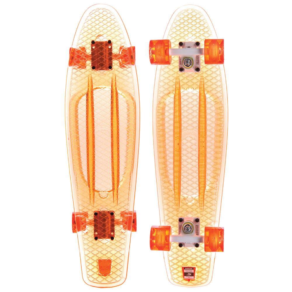 Пенни борд Union Coral, цвет: прозрачный, дека 71 х 19 см. PLST770012PLST770012Пластборд Юнион (Union) - это пластиковый скейтборд-круизер с загнутым хвостом для передвижения по городу и трюкачества. Очень прочная дека, качественные подвески, подшипники и колеса сделают вашу езду плавной и комфортной.Технические характеристики: -Дека из прочного полиуретана повышенной прочности и эластичности. -Подвески из алюминия. -Бушинги Union 89А. -Подшипники - Union Water Prof Abec7 (водонепроницаемая конструкция). -Колеса - круизного типа Union Virage диаметром 59 мм с стандартной мягкостью 83А. -Колеса, которые светятся при езде. -Нестирающееся цепкое покрытие. -Различные расцветки в ассортименте.