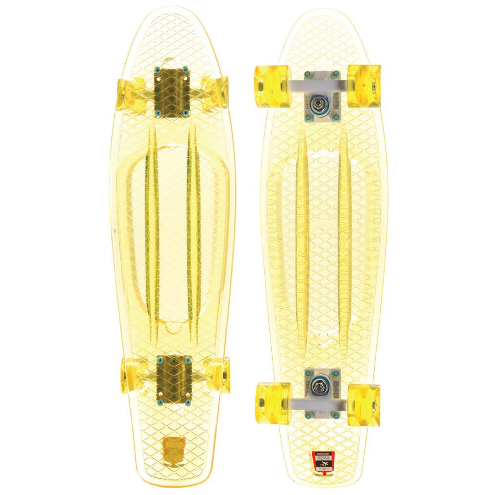 Пенни борд Union Melon, цвет: прозрачный, дека 71 х 19 см. PLST770016PLST770016Пластборд Юнион (Union) - это пластиковый скейтборд-круизер с загнутым хвостом для передвижения по городу и трюкачества. Очень прочная дека, качественные подвески, подшипники и колеса сделают вашу езду плавной и комфортной.Технические характеристики: -Дека из прочного полиуретана повышенной прочности и эластичности. -Подвески из алюминия. -Бушинги Union 89А. -Подшипники - Union Water Prof Abec7 (водонепроницаемая конструкция). -Колеса - круизного типа Union Virage диаметром 59 мм с стандартной мягкостью 83А. -Колеса, которые светятся при езде. -Нестирающееся цепкое покрытие. -Различные расцветки в ассортименте.