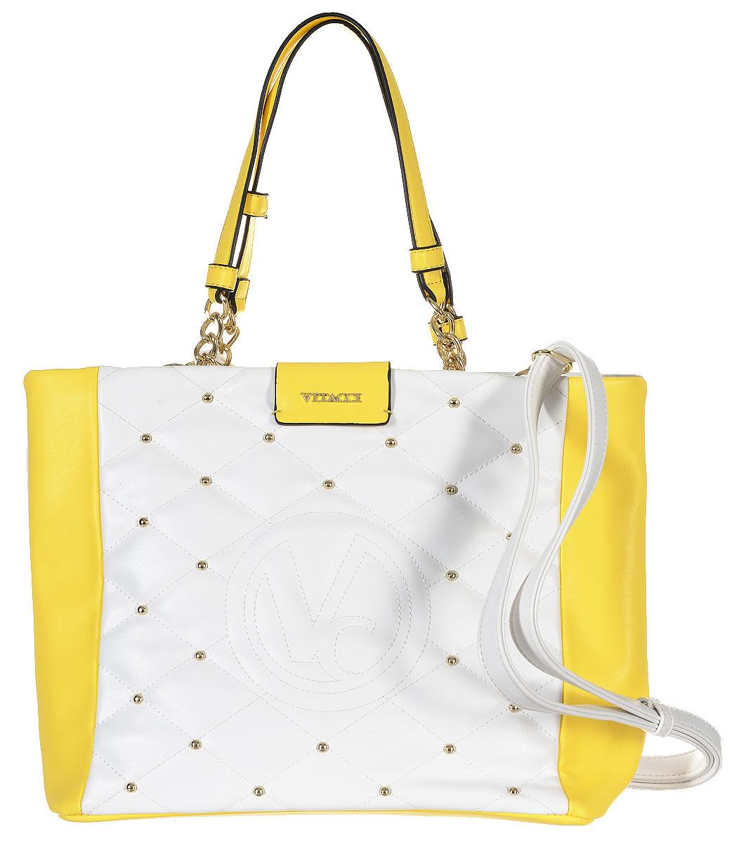 Сумка женская Vitacci, цвет: белый, желтый. 63505-563505-5Изысканная женская сумка Vitacci из искусственной кожи, оформлена декоративной прострочкой и фурнитурой золотистого цвета. Сумка закрывается на замок-молнию. Ручки сумки комбинированные, состоят из оригинальной плетеной металлической цепочки и кожи. Внутри два глубоких отделения, разделенные карманом-средником на молнии. Вместительные внутренние отделения содержат два накладных кармана для телефона и мелких принадлежностей, а также врезной карман на молнии. Лицевая сторона украшена вышитым декоративным элементом с логотипом фирмы. Снаружи на задней стенке сумки размещен вшитый карман на молнии. Сумка оснащена съемным плечевым ремнем регулируемой длины, которые позволят носить изделие как в руках так и на плече. Роскошная сумка внесет элегантные нотки в ваш образ и подчеркнет ваше отменное чувство стиля.