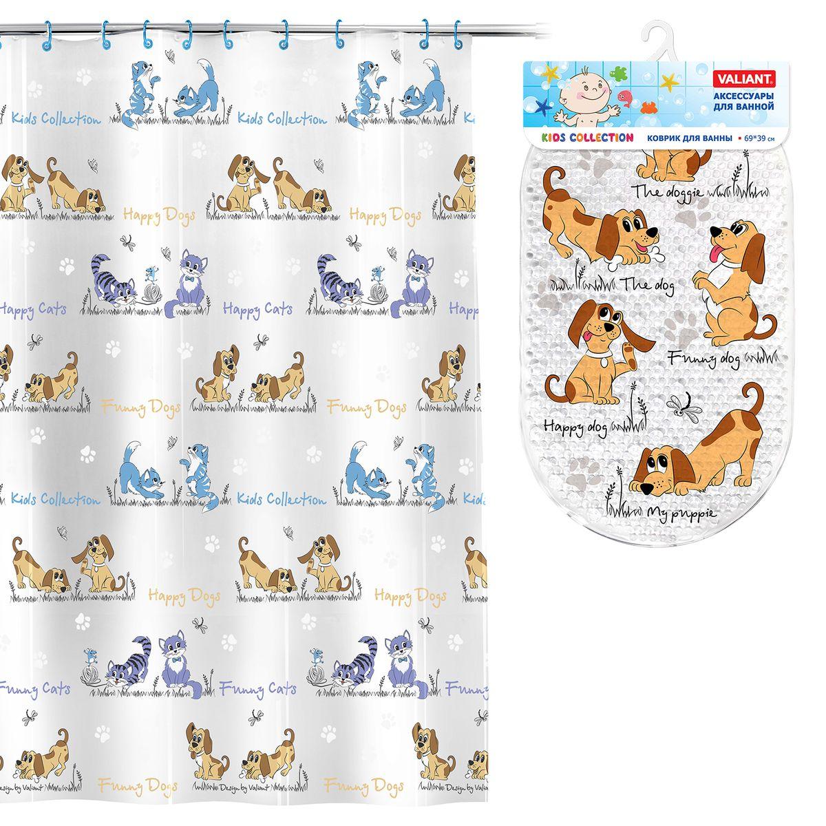 Valiant Комплект для ванны СобачкиK1818-CD_K6939-DGVAL K1818-CD/K6939-DG Комплект Собачки: штора 180*180 см, PEVA + коврик , 69*39 см, винил