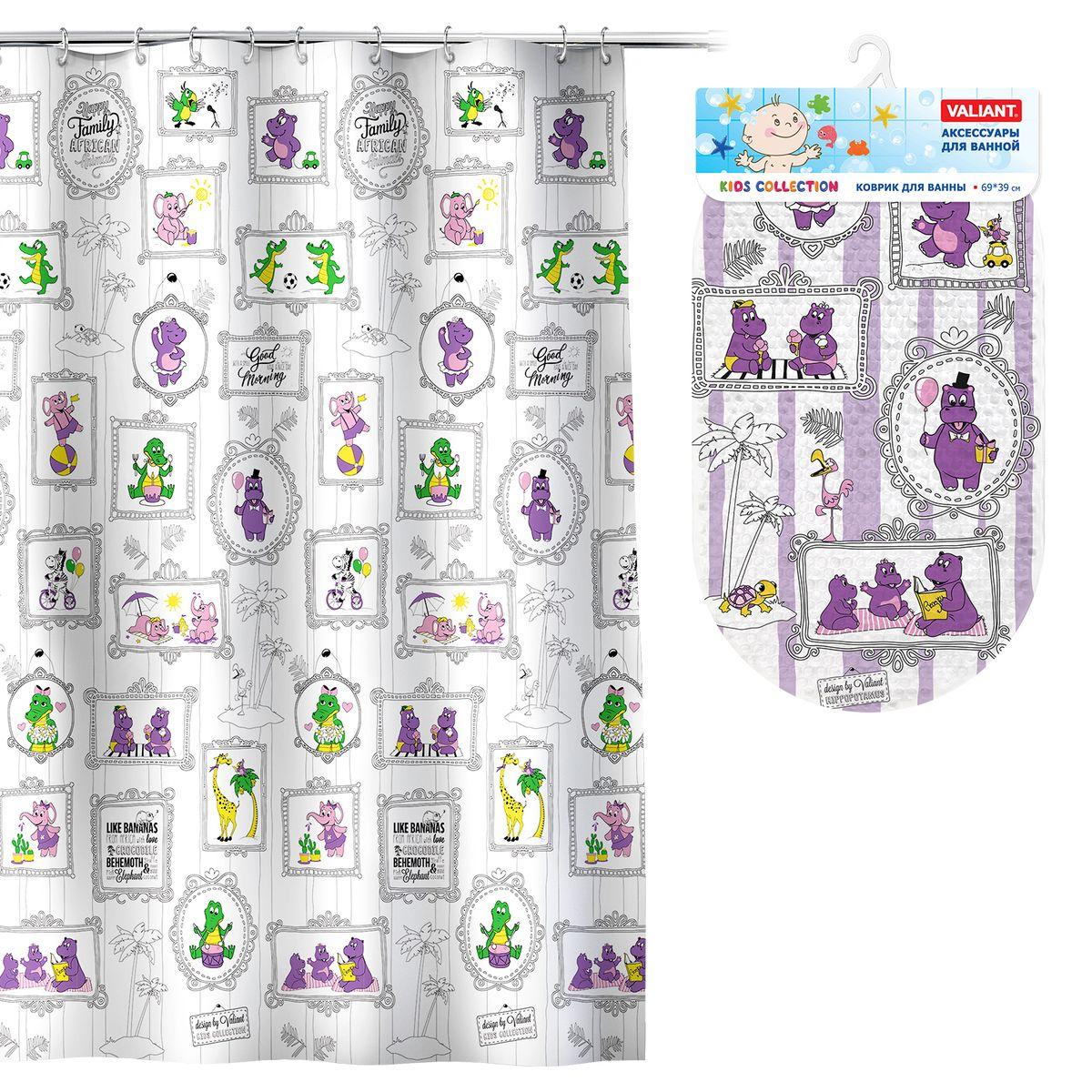 Valiant Комплект для ванны БегемотикиK1818-AF_K6939-HPVAL K1818-AF/K6939-HP Комплект Бегемотики: штора 180*180 см, PEVA + коврик , 69*39 см, винил