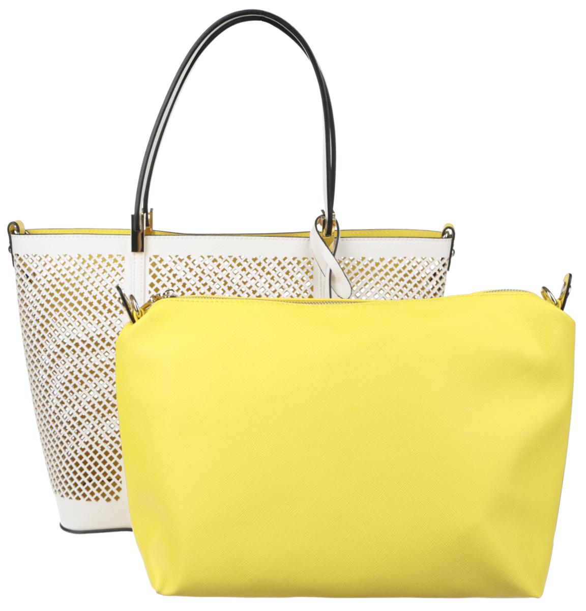Сумка женская Vitacci, цвет: белый. GLM0239D-5GLM0239D-5Изысканная женская сумка Vitacci выполнена из качественной искусственной кожи с перфорацией. Удобные ручки крепятся к корпусу сумки на металлическую фурнитуру золотистого цвета. Внутри сумка оснащена съемным отделением с текстильной подкладкой, выполненным из искусственной кожи желтого цвета, внутри которого содержится два накладных кармана для телефона и мелких принадлежностей, а также врезной карман на молнии. Съемное отделение крепиться к основной сумке с помощью ремешков на кнопке, имеет металлические крепежи для плечевого ремешка, поэтому его можно использовать как отдельный аксессуар. Сумка оснащена съемным плечевым ремнем регулируемой длины, которые позволят носить изделие как в руках так и на плече. Ручки сумки декорированы оригинальным брелоком на ремешке. Практичная и стильная сумка прекрасно завершит ваш образ.