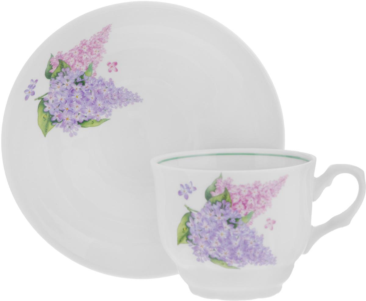 Чайная пара Тюльпан. Сирень, 2 предмета507776Чайная пара Тюльпан. Сирень состоит из чашки и блюдца, изготовленных из высококачественного фарфора. Оригинальный дизайн изделий, несомненно, придется вам по вкусу. Чайная пара Тюльпан. Сирень украсит ваш кухонный стол, а также станет замечательным подарком к любому празднику. Диаметр чашки (по верхнему краю): 8,7 см. Высота чашки: 7 см. Диаметр блюдца (по верхнему краю): 15,3 см. Высота блюдца: 3 см.