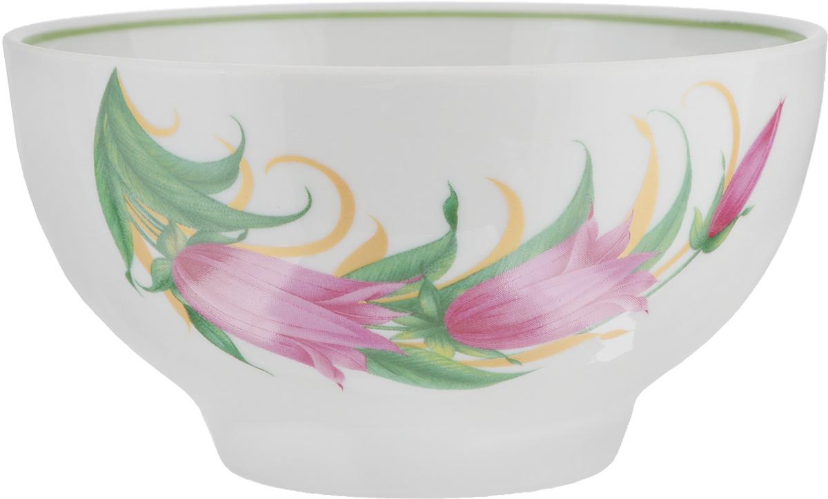 Пиала Колокольчики, 500 мл508036Пиала Колокольчики, изготовленная из высококачественного фарфора, прекрасно подойдет для подачи салата, супа или мороженого. Благодаря лаконичному дизайну, такая пиала станет бесспорным украшением вашего стола. Она дополнит коллекцию кухонной посуды и будет служить долгие годы.