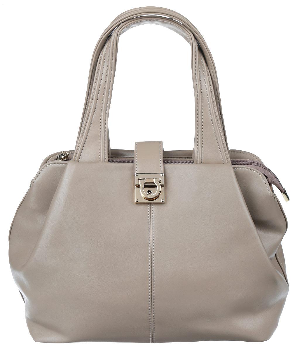 Сумка женская Vitacci, цвет: серо-бежевый. VE0840VE0840Стильная женская сумка Vitacci выполнена из искусственной кожи. Изделие имеет одно основное отделение, разделенное пополам карманом-средником на застежке-молнии. Закрывается сумка застежку-молнию и дополнительно на хлястик с застежкой-защелкой. Внутри расположены прорезной карман на застежке-молнии и два накладных открытых кармана. Снаружи, на задней стенке расположен прорезной карман на застежке-молнии. Изделие оснащено двумя удобными ручками. Роскошная сумка внесет элегантные нотки в ваш образ и подчеркнет ваше отменное чувство стиля.
