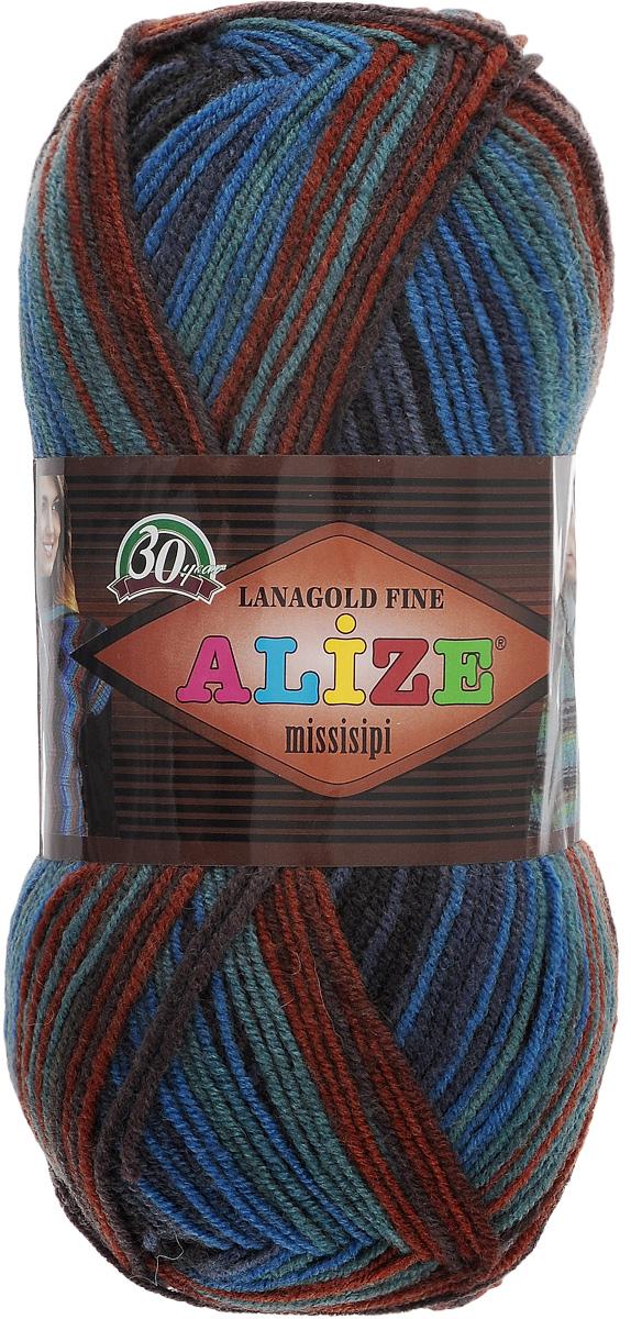 Пряжа для вязания Alize LanaGold Fine Missisipi, цвет: коричневый, зеленый, синий (3323), 390 м, 100 г, 5 шт367019_3323Пряжа Alize LanaGold Fine Missisipi - это полушерстяная пряжа для ручного вязания. Нить плотно скручена, гибкая, послушная, не пушится, не электризуется, аккуратно ложится в петли, не деформируется после распускания. Стойкое равномерное окрашивание обеспечивает широкую палитру оттенков, высокое качество материала и используемых красителей защищает от потери цвета. Пряжа LanaGold Fine Missisipi мягкая, приятная, не колется, хорошо держит форму. Соотношение шерсти и акрила - формула практичности. Высокие тепловые характеристики сочетаются с эстетикой, носкостью и простотой ухода за вещью. Это классическая пряжа для зимнего сезона, которая может использоваться для детской и взрослой одежды. Она будет хорошо смотреться в узорах любой сложности, уместна в разных теплых изделиях. Состав: 49% шерсть, 51% акрил. Рекомендованные спицы 2,5-4 мм и крючок для вязания 2-4 мм.
