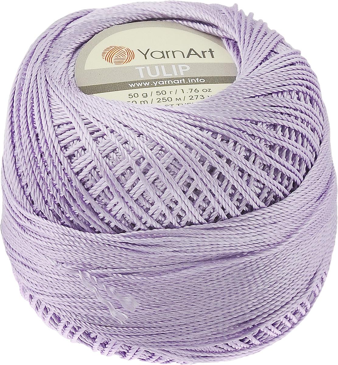 Пряжа для вязания YarnArt Tulip, цвет: сиреневый (413), 250 м, 50 г, 6 шт372017_413Пряжа для вязания YarnArt Tulip (Ирис) изготовлена из 100% микрофибры. Пряжа приятная на ощупь, легкая, тонкая и упругая. Хорошо смотрится практически в любых узорах, не косит, послушно ложится в узоры и спицами, и крючком. Ниточка блестящая и такими же блестящими получаются изделия из нее. Нить удобна и практична тем, что хорошо смотрится как в объемных рельефных узорах, так и в самой простой чулочной вязке. Пряжа Tulip - классический вариант демисезонной пряжи, идеальна для создания летней одежды, купальников, аксессуаров, бижутерии, салфеток, ирландского кружева, жгутов и т.д. Нежная текстура ниток подходит для создания одежды детям. Изделия получаются легкими, не деформируются и не вытягиваются ни при вязании, ни при последующей носке. Микрофибра гипоаллергенна, поэтому вязаные вещи подходят даже для чувствительной кожи. Богатая цветовая гамма однотонных и меланжевых расцветок порадует рукодельниц и удовлетворит даже самых взыскательных модниц. Нить очень...