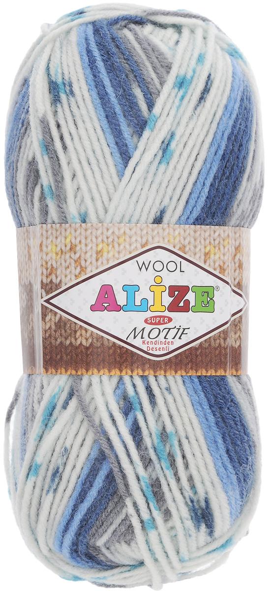 Пряжа для вязания Alize Motif, цвет: белый, серый, синий (1676), 200 м, 100 г, 5 шт367014_1676Турецкая пряжа Alize Motif, выполненная из шерсти и акрила, предназначена для ручного вязания. Нить толстая крученая, очень мягкая. Хорошо подходит для вязания теплых свитеров, пальто, изделий для интерьера. Оригинальное сочетание разноцветного узора и полос. Теплая осенне-зимняя пряжа для всей семьи. При вязании лицевой гладью складываются жаккардовые узоры. Состав: 80% акрил, 20% шерсть. Рекомендованные спицы № 5-6.