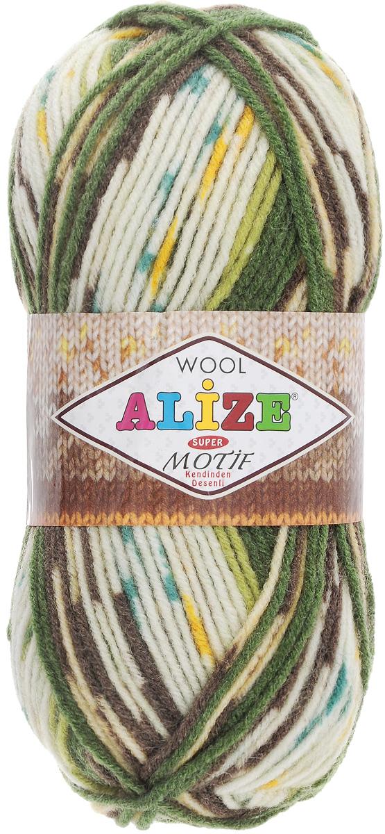Пряжа для вязания Alize Motif, цвет: молочный, зеленый, темно-коричневый (1674), 200 м, 100 г, 5 шт367014_1674Турецкая пряжа Alize Motif, выполненная из шерсти и акрила, предназначена для ручного вязания. Нить толстая крученая, очень мягкая. Хорошо подходит для вязания теплых свитеров, пальто, изделий для интерьера. Оригинальное сочетание разноцветного узора и полос. Теплая осенне-зимняя пряжа для всей семьи. При вязании лицевой гладью складываются жаккардовые узоры. Состав: 80% акрил, 20% шерсть. Рекомендованные спицы № 5-6.