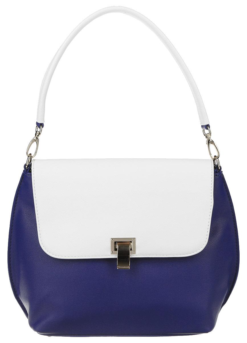 Сумка женская Vitacci, цвет: синий, белый. 93432А-293432А-2Изысканная женская сумка Vitacci выполнена из качественной искусственной кожи. Сумка закрывается на застежку-молнию и дополнительно клапаном на металлическую защелку. Ручка выполнена в виде короткого съемного ремешка, что позволяет носить сумку, как на плече, так и в руках. Модель оснащена съемным плечевым ремнем регулируемой длинны. Внутри одно отделение. Вместительное внутреннее отделение содержит два накладных кармана для телефона и мелких принадлежностей, а также врезной карман на молнии. Снаружи на задней стенке сумки размещен вшитый карман на молнии. Дно дополнено металлическими ножками, защищающими изделие от повреждений. Сумка - это стильный аксессуар, который сделает ваш образ изысканным и завершенным. Классические формы и оригинальное оформление сумки подчеркнет ваше отменное чувство стиля.